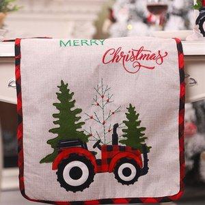 Natale Runner tovaglia di lino tabella copertura auto Xmas Tree Flag Dress Tavolo Tovaglia Mangiare Mat Decorazioni di Natale DHL CZ110204