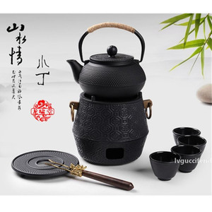 900ml Shells Japanese Style Cast Old Iron Kettle Tetsubin Teapot Comes With Strainer Flower Tea Set Puer Kettle Coffee Tea pots
