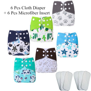 [simfamily]6pcs Nappy+6pcs Insert Washable Baby Cloth Diaper Cover Adjustable Nappy Reusable Cloth Diapers Available 201020