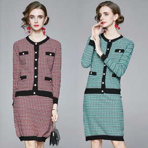 New Spring Fall 2pcs Women Ladies Sets Vintage Print Crew Neck Knitted Button Long Sleeve Top Sweater Cardigan Skirt Suits Outfits Workwear
