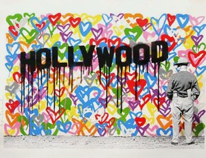 Mr. Brainwash Love on Hand Home Decor Handpainted &HD Print Oil Painting On Canvas Wall Art Canvas Pictures 201026