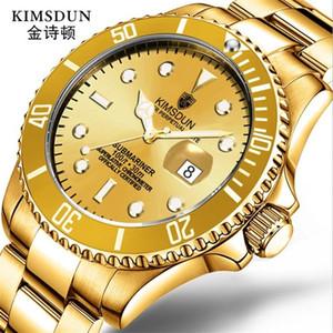La manera de lujo de negocios Kimsdun reloj de los hombres mecánicos automáticos impermeable exhibición de la fecha correa de acero inoxidable de calidad Relogio