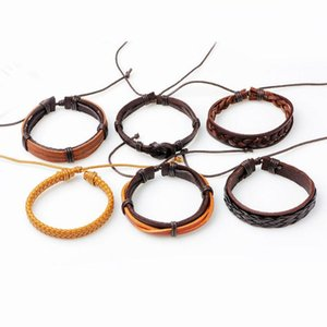 Bracelet en cuir Multilayer Braid Bijoux mode noir Punk Bracelets Wrap