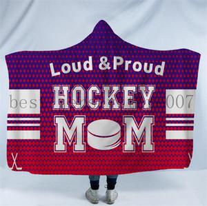 Hockey Hooded blankets Plush Sherpa Blanket Xmas 3D Printed Cape Cloak Fleece Soft Winter Swaddling Bedding Quilt Nap Wraps LXL680-2
