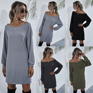 Leosoxs 2020 Spring Autumn Fashion Sexy Off Shoulder Women's Mini Dress Casual Solid Long Sleeve Waffle Check KniLadies Dress