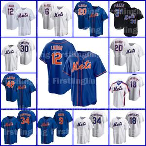 12 Francisco Lindor 맞춤식 메트 메트 Baseball Jersey 48 Jacob Degrad Pete Alonso New Jeff York McNeil Tom Seaver Mike Piazza Noah Syndergaard