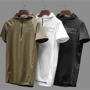 TECHNIQUE SPORTSWEAR Muscle Mens Sport Hooded Vest Débardeurs Fitness Course à la formation en vrac Coton Tops 201020
