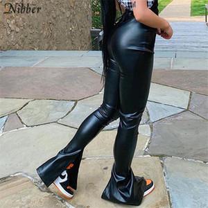 Nibber Black PU cuero apilado y2k estilo lápiz pantalones para mujer otoño invierno pantalones de lujo popular diseño apretado pantalones femeninos