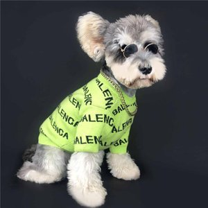 Pets Wool Sweaters Fashion Letter Printed Pet Knitting Sweatshirts Trendy Elastic Schnauzer Bichon Costume Apparel