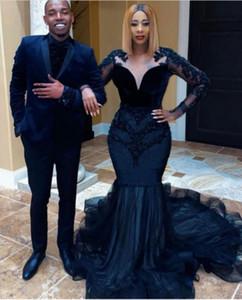Abiti da ballo nera africana per le donne Party Night Long Satin Dress Dress da sera 2021 Abiti di laurea Robe de Soirée de Mario