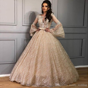 Shiny Lace Ball Gown Prom Dresses 2020 New Glitter Tulle Puffy Arabic Evening Dress Long Sleeve Special Occasion 15-16 Pageant Gowns