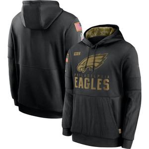 FiladelfiaEaglesHombres Woemn la camiseta de la juventud 2020 Saludo al servicio de la línea lateral Rendimiento suéter con capucha de fútbol Negro