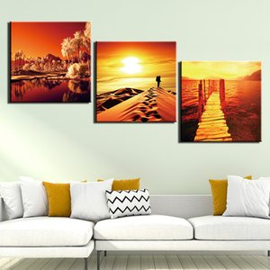 3 Panel Posters And Prints Painting Sunset Scenery Pictures Wall Art For Living Room Home Decor Canvas Art