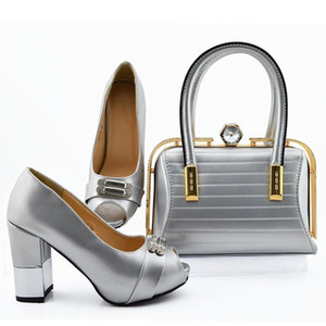 Beautiful silver women cover shoes match bag set with crystal african pumps and handbag for dress MD006,heel 9.5CM