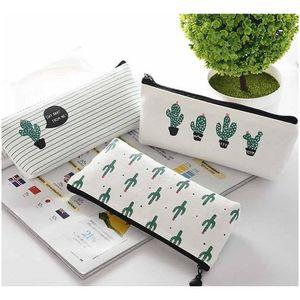 cactus pencil case kawaii canvas zipper stationery estuches school cute pencil box pen bags pouch pocket coin purse