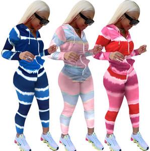 Tie Dye Womens Tracksuit Felpa con cappuccio con Zip Giacca Zip Coat e Pantaloni Leggings Due pezzi Abiti a strisce Colore a strisce Design Casual Abbigliamento Set F92903