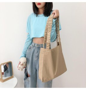 Korean Fashion Pleated Strap Shoulder Bag Women Pure Color Big Bag Collage Student Book Women Messenger Designer Bags