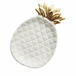 Piña cerámica almacenaje de la joyería bandeja de piña Pallet fruta seca Placa decoración del hogar Plate YR5Y #