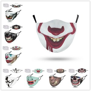 with 2 filters Adult clown face mask designers trendy masks Funny devil skeleton Mouth facemask Halloween Christmas Party Masks F102304