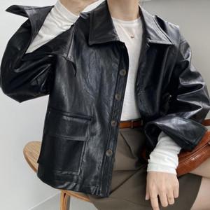 HXJJP chaqueta de cuero lavada PU de las mujeres de la chaqueta 2020 otoño Nueva Corea-Estilo retro Negro de cuero de imitación Corto