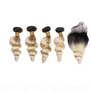 فضفاض مجعد الشعر الامتدادات مع أومبير الملونة 1B 613 4X4 إغلاق أومبير اللون 1B 613 فضفاض موجة 3Bundles مع الدانتيل إغلاق