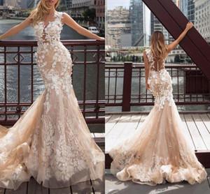 2021 Newest Champagne Mermaid Wedding Dresses 3D Flowers Lace Appliqued Sheer Neck Bridal Gowns Illusion Back Vestidos De Novia AL7345
