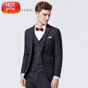 Top Custom Men Plaid Formal Suits Groom Wedding Slim Fit Groomsmen Tuxedos 3 Piece Handsome Business Wear (Jacket+Pants+Vest) #9U9u