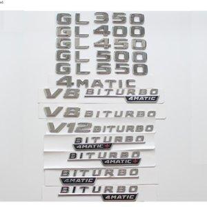 Chrome Trunk Lettres Badge Badges Emblèmes Emblèmes Sticker pour Mercedes Benz GL350 GL400 GL450 GL500 GL550 V8 V8 V12 Biturbo 4MATIC