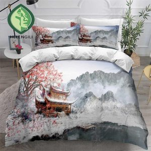 HELENGILI 3D Bedding Set Chinese Scenery Print Duvet Cover Set Bedclothes with Pillowcase Bed Home Textiles #ZGFJ08