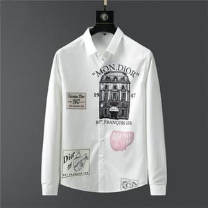 de Marque 2020 Tasarımcı Erkek Gömlekler Moda Casual Gömlek Markalar Erkek Gömlek İlkbahar Sonbahar Slim Fit Gömlek chemises hommes # 31 dökmek