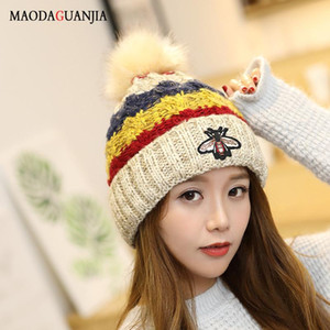 Wholesale-Bee Neck Warmer Caps Brimless Hat Knit Leosoxs Fur Cute Winter Knitted For Women Unisex Spring,