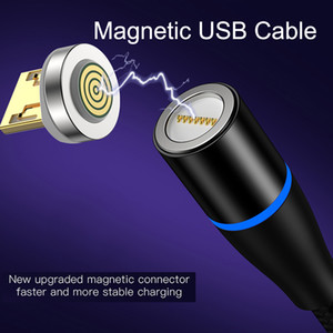 3 in 1 Magnetic USB Cable Fast Charging 2A Cable with LED light 1M 3FT Micro USB Type C for Cell Phone