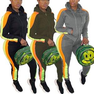 Casual Patchwork Kadınlar Tracksuits Moda Uzun Kollu Kapşonlu İki Adet Koşu Suits Kadınlar Designer Giyim Zip