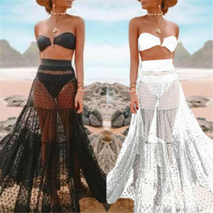 Sexy Solid Lace Mesh Summer Beach Skirt Women Casual Beach High Waist Elastic Transparent Tassel Long Skirts For Women Cover Ups