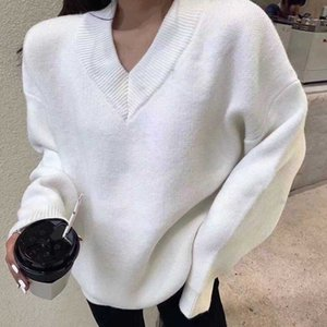 The latest fashion style in autumn winter 2020 is v-neck pullover sweater, loose and comfortable sweater for women, free of postage S XL