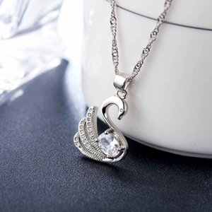Luxury Jewelry Long Silver Color Austrian Crystal Rhinestone Pendant Necklace for Women Party Accessory