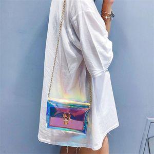 Women Laser Transparent Crossbody Bag Messenger Shoulder Bag PVC Jelly Small Tote Bags Holographic Lady Sac Femme Bandoulier