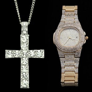 Hip Hop Watch & Necklace Combo Set Luxury Gold Color Stainless Steel Necklaces Chain Out Cuban Watches For Men Jewerly 2020