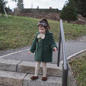 Hairy warm coat for children in winter Olive green kids girl wear Super cute and high quality girl's woollen overcoat 0WJ14