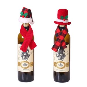 Christmas Hats Wine Bottle Cover Gift 2pcs Mini Plaid Hats Scarves Set Bottle Hold Bag Case Xmas Home Christmas Table Decoration DBC BH4243