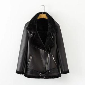 Ailegogo Kış Kadın Faux Kuzu Deri Kadın Sıcak Kalın Giyim Ceket Faux Deri Kuzular Yün Kürk Yaka Süet Ceket Kabanlar1
