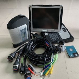 top quality mb star diagnostic tool mb sd c4 with 2020.09c hdd plus c4 multiplexer obd2 cables cf19 laptop 4G touch screen