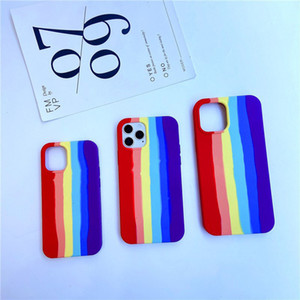 Rainbow colors Original Silicone Case For iPhone 12 Mini 11 Pro max XS MAX 7 8 plus Phone Cover case With Retail Packaging