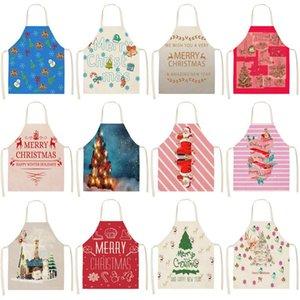 lettera 1Pcs Albero di Natale stampato a secco Grembiuli Cucinare Grembiule Cook usura del cotone lino per adulti bavaglini 53 * 65cm MX0005
