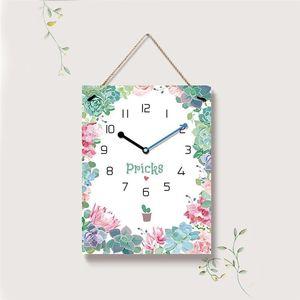 1PC 15 Inches Creative Flower Wall Clock Green Garland Hanging Clock Modern Square Shape Hanging Fashion Wall Decor