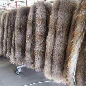 Special offer Leather fur collar 100% authentic raccoon hair scarf fur trim down coat fur strip   hooded raccoon collar Scarves 201026