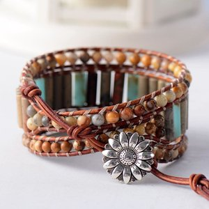 Boho Bracelet Unique Tube Shape Natural Stone 3 Layers Leather Wrap Bracelets Bohemian Women Statement Bracelet Dropshipping 0930