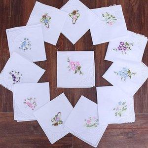 100% cotton handkerchief Embroidery Lace Ladies'handkerchiefs White handkerchief 28*28cm
