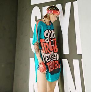 2021 New Summer T Shirt For Women Irregular Funny Letter Long Design T Shirt Tops Tee Streetwear Dance Clothes