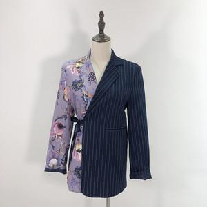 المرأة ريترو طباعة مخطط المرقعة بليزر 2020 الخريف جديد السترة معطف البدلة السترة أزياء شيك فضفاض نساء بليزرز أنثى WB40